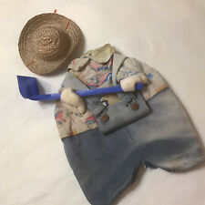 New listing Cement Lawn Goose Ornament Gardner Outfit Bibs Overalls Hoe Straw Hat Sun Faded