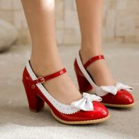 Women Bowknot High Heels Round Toe Patent Leather Pumps Mary Jane Shoe Plus Size