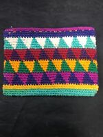 Multi-Color Geometric Vintage Guatemalan Hand Woven Coin Purse  Pouch Wallet NOS
