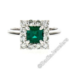 Vintage 18k White Gold 1.51ctw Colombian Emerald Solitaire & Diamond Halo Ring