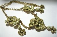 NEW BOXED SIGNED BUTLER & WILSON STATEMENT SEED PEARL FLOWER DROP NECKLACE