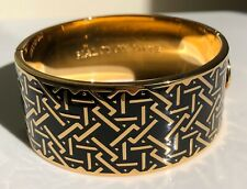 HALCYON DAYS BLACK AND GOLD HINGED  BANGLE. WITH VELVET POUCH. NEW