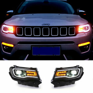 For Jeep Compass LED Headlights Projector LED DRL Replace OEM Halogen 2018-2020