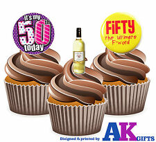 12 X Funny 50th Birthday Ladies Wine 50th Mix EDIBLE CAKE TOPPERS STAND UPS