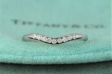 $1,750 Tiffany & Co Platinum Elsa Peretti Diamond Curved Wedding Band Size 4