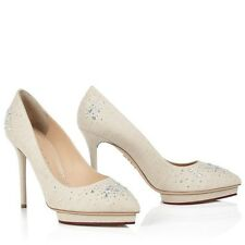 416552d18d91 Charlotte Olympia Bejeweled Debbie crystal-embellished canvas pumps UK 6.5