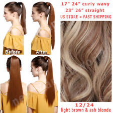 Straight Wrap Ponytail 100% Real Natural as human Hair Clip in Hair Extension US