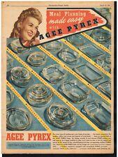 AGEE PYREX AD VINTAGE KITCHEN DECOR Original 1945 Vintage Print Ad*Retro