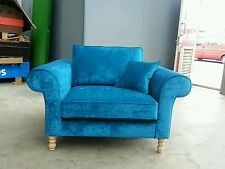 BESPOKE OVER-SIZED ARMCHAIR / LOVE SEAT.TEAL CRUSHED VELVET.VARIOUS COLOURS