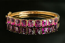 8CT Emerald Cut Pink Ruby 14K Yellow Gold Over Women's Bangle Bracelet For Gift