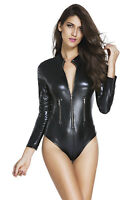 Body noir simili cuir wetlook manches longues col montant sexy rock glamour