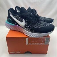 Nike Epic React Flyknit 2 GS Black White Size 7Y/8.5 Womens AQ3244-014 NEW