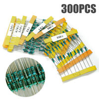 300PCS Set 30 Values 1/4W 1% Metal Film Resistors Resistance Assortment Kit