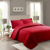 3 Piece Lightweight Bedspread Quilt Set Microfiber Quilts Prewashed, Queen King