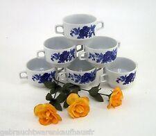 DDR Suppentassen Colditzer Porzellan INGLASUR 6 Stk. weiß mit blauen Blumendekor