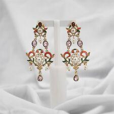 Boucles d`Oreilles Clous Doré Rose Vert Email Coeur Perle Chandelier Baroque YW1