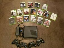 Xbox 360 Working Black 4GB, With power cord, 4 working Controllers, 17 games