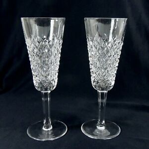PAIR WATERFORD CYSTAL CUT GLASS CHAMPAGNE GLASSES - ALANA