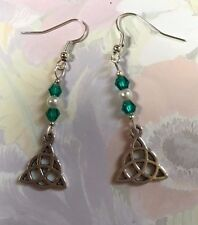 CELTIC KNOT DANGLE HOOK EARRINGS WITH TIBETAN SILVER CHARMS Green Beads Gift Bag