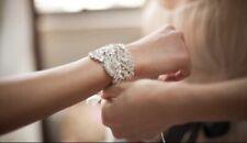 Vintage Style Crystal Rhinestone Silver Bridal Wedding Bracelet/Cuff With Ribbon