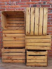 6 Strong&Solid Vintage Wooden Fruit Apple Crates Boxes Home Ground & Cleaned!