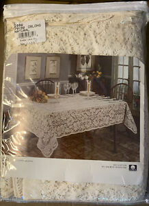 """70"""" X 90"""" Oblong Natural Quaker Lace Tablecloth 1006 (New In Package)"""