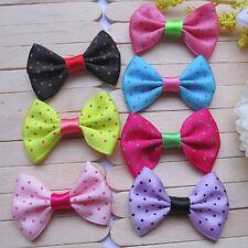 20pcs Mixed Colors Swiss Dots Satin Ribbon Bow Knot Handmade Appliques Craft