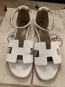 Hermes Santorini Sandal White Epsom Leather size 38