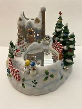 Partylite Snowbell Candle Holder Ice Skater Music Box  00004000 Christmas Huge