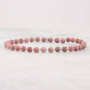Pink Rhodonite Stretch Bead Bracelet for Women, Sterling Silver