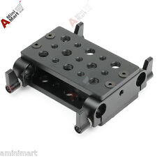 Tripod Dual Cheese Plate Mounting Baseplate fr 15mm Rod Support DSLR Rig Clamp