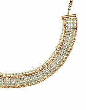 NEW NWT ACCESSORIZE LIGHT GOLD BLUE IVY BEADED COLLAR NECKLACE CHAIN
