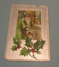 1900 Era Green Robe Santa Claus Embossed Christmas Postcard Train Drum Toys Sack