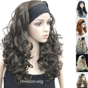 Fashion Women long curly wave wig 3/4 half wigs with Headband cosplay wig