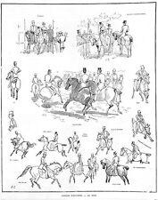 "EQUITATION "" CROQUIS EQUESTRES "" GRAVURE ENGRAVING 1883"