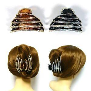 AB Crystal Rhinestone Trim Large Round Plastic Women Hair Jewelry Jaw Clip Claw