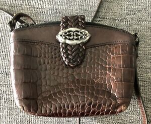 Brighton Brown Reptile Embossed Leather Mini Crossbody Bag