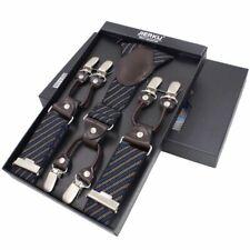 Men Plaid Suspenders Leather Six Clips Adult Hombre Fashion Trouser Braces