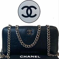 New listing Authentic Chanel Camilla Black Leather Cc Zip Around Long Wallet~🇺🇸Us Seller