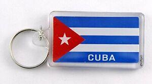 """Cuba Flag Acrylic Rectangular Souvenir Keychain 2.25"""" X 1.25"""""""