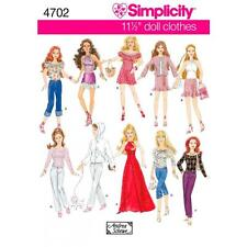 SIMPLICITY SEWING PATTERN 11 1/2 INCH FASHION DOLL CLOTHES  4702 A