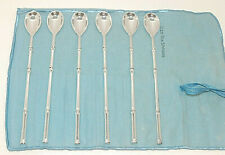"""Set of 6 Tiffany & Co. Sterling Silver Ice Tea Spoon, 7 3/4"""", Bamboo Pattern"""