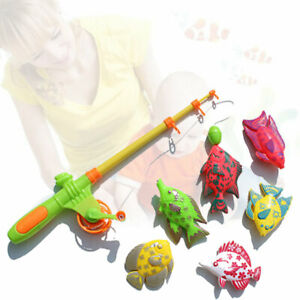 7PCS Fish Set Bath Time Game Fishing Toy Pole Rod Model Kids Baby Magnetic