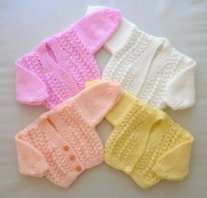 Newborn or Tiny 5-7lbs Baby Girls Lace Cardigan Hand Knitted Pink White Lemon
