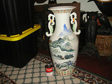 Superb Chinese Or Japanese Very Large Floor Urn Vase-Painted Scenes-Two Handles