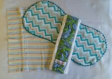 New listing Lot of 3 Baby Burp Cloths Rags Assortment Blue Green Gray Gender Neutral