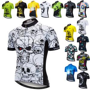 Men Cycling Jersey Skull Bicycle Short Sleeve Quick Dry Racing Bike Shirt Tops
