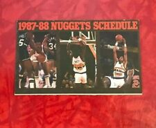 1987 - 1988 DENVER NUGGETS FOLDOUT POCKET SCHEDULE ALEX ENGLISH & CALVIN NATT