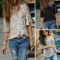 Women Ladies Glistening Sequin Slim Shirt Tops Casual Blouses Women T Shirts Top