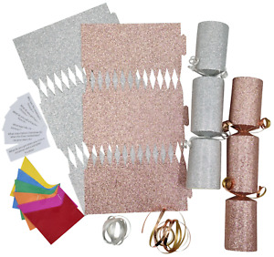 12 Make Your Own Christmas Cracker kit Crackers Hats Snaps ROSE GOLD & SILVER